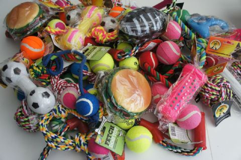 BULK ASSORTED PET DOG SQUEAKY CHEW ROPE BALL RUBBER LARGE TOYS X 10
